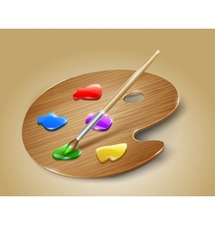 Wooden art palette with paints and brush vector