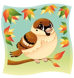 Funny little sparrow on a branch vector