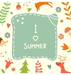 Sweet summer card with lovely forest plants and vector