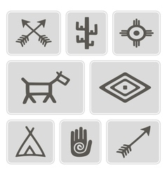 Icons with native american symbos vector