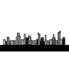 Isolated buildings of the city sea boat vector