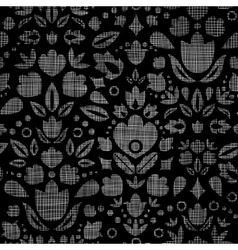 Abstract black lace ornamental tulips textile vector