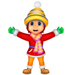 Cartoon a girl in winter clothes waving vector