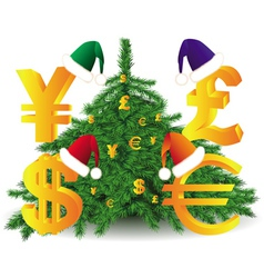 Gold currency xmas tree vector