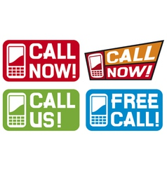 Call now label- call us label - free call label vector