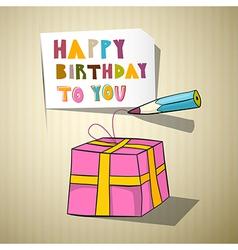 Happy birthday title gift box pencil vector