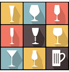 Icons with stemware in flat design vector