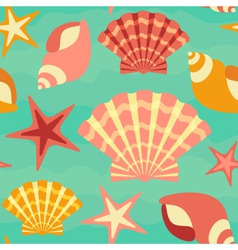 Sea shells seamless background vector