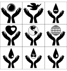 Open hands held signs vector