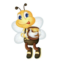 Bee with honey pot vector
