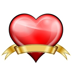 Red heart with golden ribbon vector