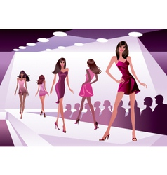 Fashion models represent new clothes vector