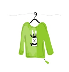 Sweater on hangers with funny rabbit design vector