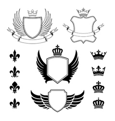 Set of winged shields - coat of arms - emblems vector