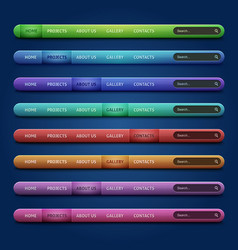 Set of 8 navigation bars for your website vector