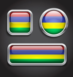 Mauritius flag glass buttons vector