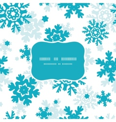 Blue frost snowflakes holiday frame seamless vector