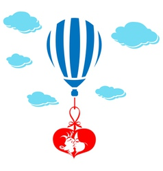 Valentine couple kissing in air balloon vector