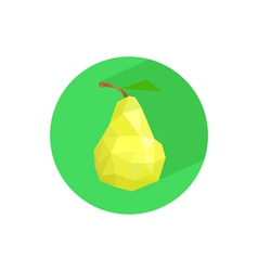 Abstract origami pear on green circle vector