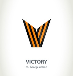 Symbol v for victory day made of st george ribbon vector