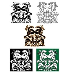 Celtic mythical animals traditional ornament vector