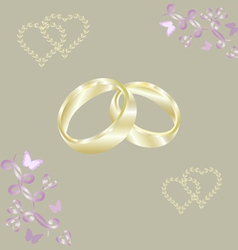 Engagement rings gold hearts vector