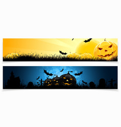 Set of horizontal halloween banners vector