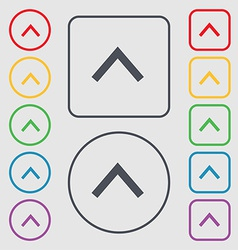 Direction arrow up icon sign symbol on the round vector