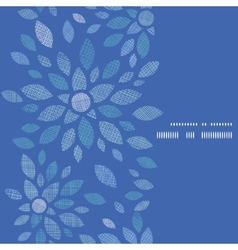 Blue textile peony flowers vertical frame seamless vector