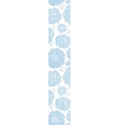 Blue textile peony flowers vertical border vector