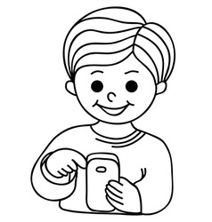 Smiling boy texting with cellular phone vector