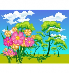 Landscape with trees and flowers vector