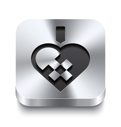 Square metal button - braided christmas heart vector