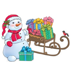 Snowman and sleigh with gifts vector