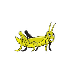 Grasshopper crawling side cartoon vector
