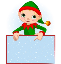 Christmas elf place card vector