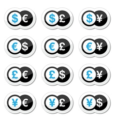 Currency exchange icons - dollar euro yen pound vector