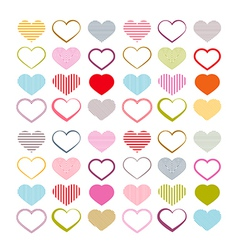Colorful heart set red valentine symbols vector