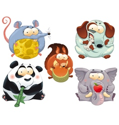 Group of funny animals with food vector