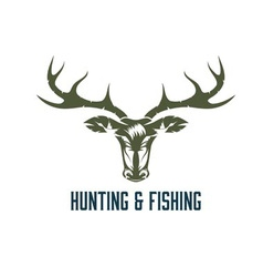 Hunting and fishing vintage label vector