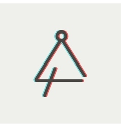 Triangle thin line icon vector