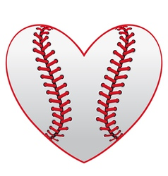 Baseball leather ball as a heart vector