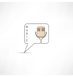 Brown microphone icon vector