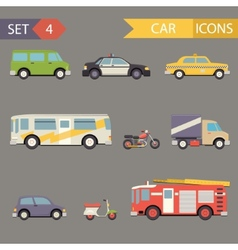 Retro flat car icons set vector