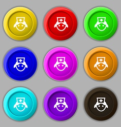 Nurse icon sign symbol on nine round colourful vector