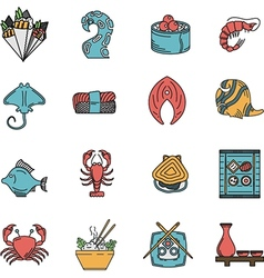 Flat icons for seafood menu vector