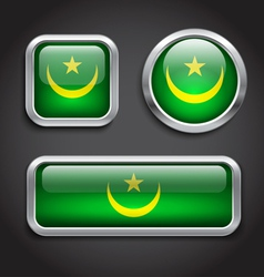 Mauritania flag glass buttons vector