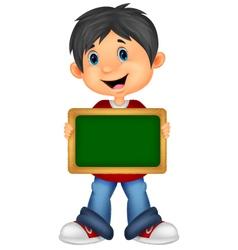 Cartoon boy holding board vector