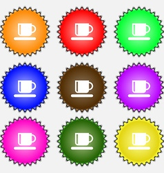 Coffee cup icon sign a set of nine different vector