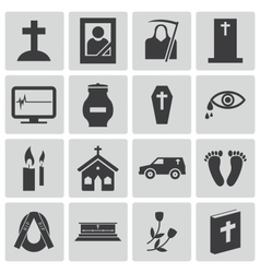 Black funeral icons set vector